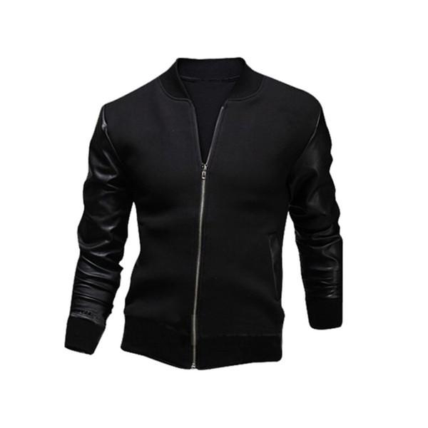 Moda PU cuero Patchwork chaquetas de los hombres Moto Biker estilo masculino del collar del soporte Slim Fit Coat hombres prendas de abrigo Veste Hommes caliente