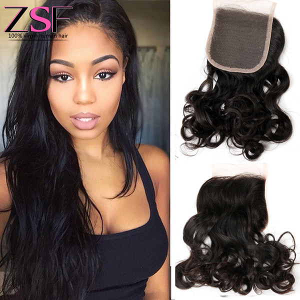 ZSF 8A Brazilian Virgin Hair Natural Water Wave With 1pcs 4x4 Lace Closure Human Hair Extensions
