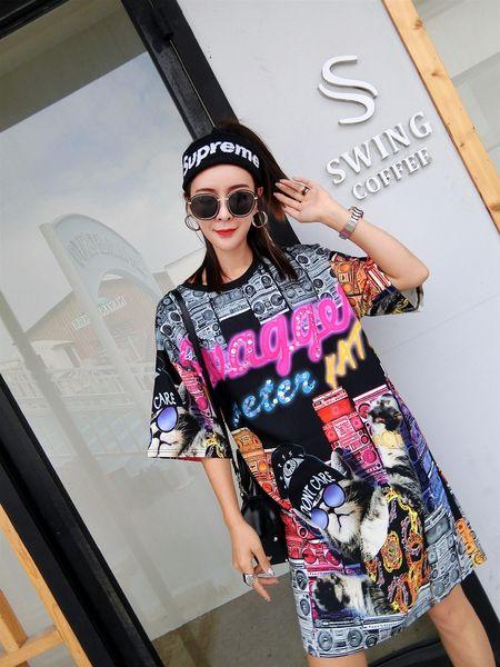 Harajuku Style Cartoon Chat Imprimer T-Shirt Dress Femmes Ronde Décontracté Loose Summer Dress Street Porter Sequins Robes