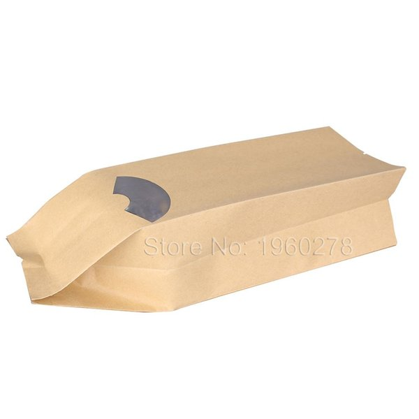 High Quality 15 Wire Thickness 100pcs 9x30cm(3.5x11.75in) Tear Notches Brown Kraft Paper Open Top Side Gussets Bags w/ Window