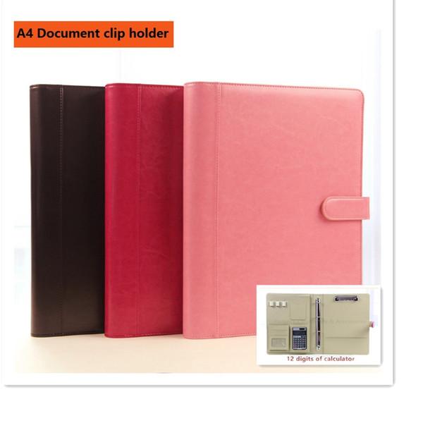 Großhandel A4 Klassische Leder Manager Ordner Dokument Datei Halter Mit Clip Soliden Knopf Taschenrechner Magnetverschluss Von Livegold 38 92 Auf