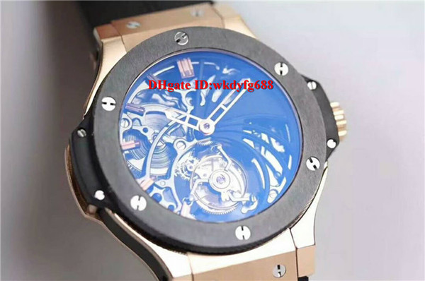 Luxury Real Tourbillon Hand-winding Movement Swiss Mens watch 28800 VPH 18k Rose Gold Ceramic Bezel Sapphire Crystal waterproof Watches