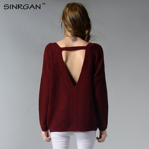 SINRGAN Sexy backless V-neck sweater 2018 autumn winter fashion women solid color simple knitting pullovers casual jumper female