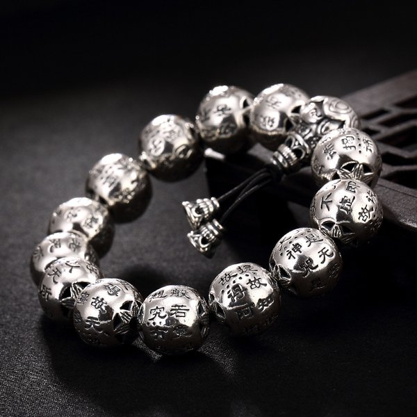 Thai silver restoring ancient ways do old character joker heart sutra  wholesale men's silver bracelet hand string