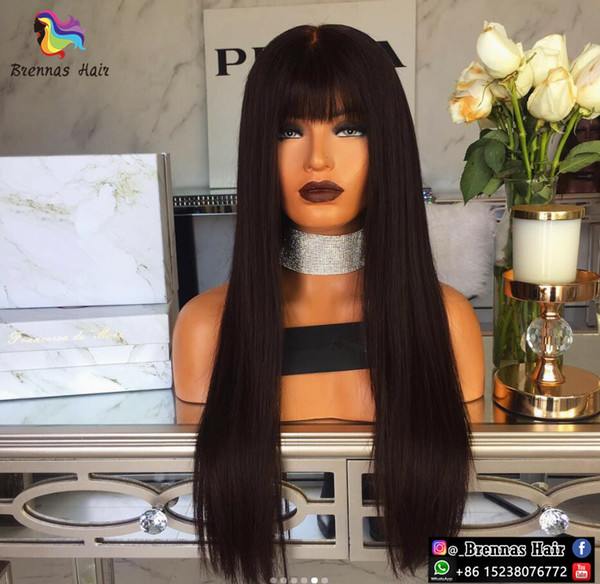 Front Lace Wigs Natural straight with bang cheap brazilian peruvian human virgin hair for black women glueless Beginners Lace Frontal Wigs