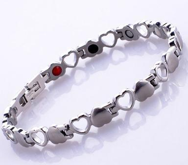 2017 new high quality female heart magnetic therapy energy stainless steel silver health bracelet women jewelry fashion healthy