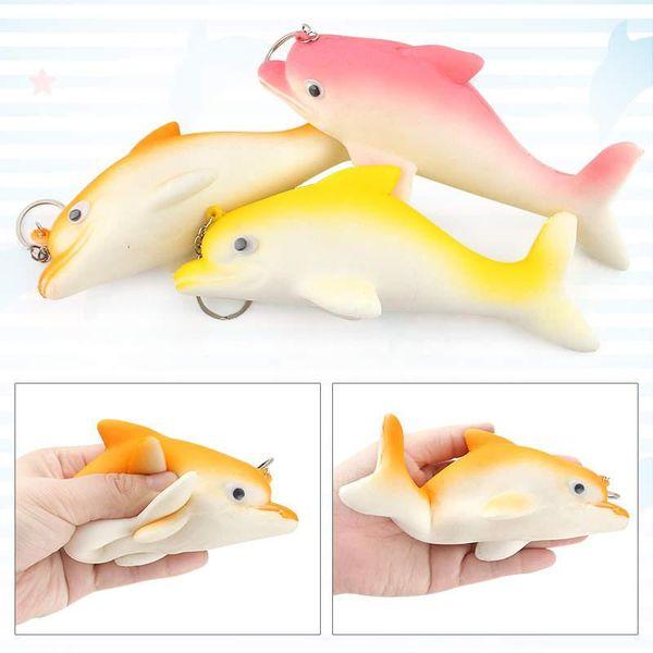 Squishy Cute Dolphin Soft Slow Rising Toys Kawaii Cartoon Ballchains Decompression Cellphone Staps Charm Kids Gift