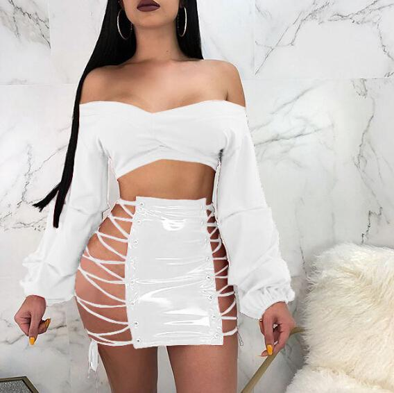 top popular Spring Summer New Sexy PU Leather Skirt Women Cross Lace Up Split Pencil Skirts Mini Dress 2021