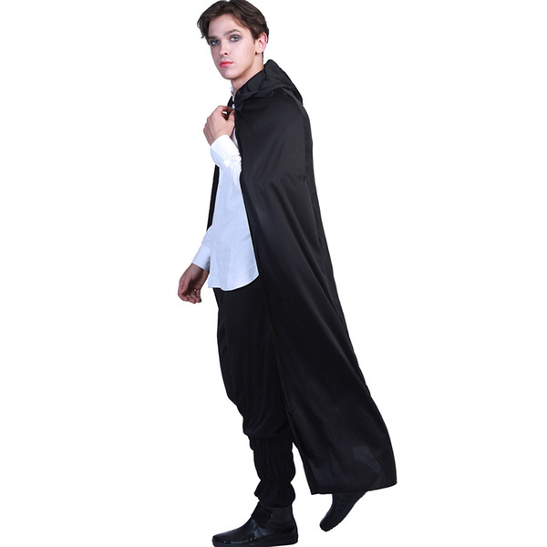 Carnival Black Hooded Vampire Cloak Gothic Scary Halloween Costumes For  Adult Men Dracula Long Cape Party Ghost Killer Cosplay Four Person  Halloween