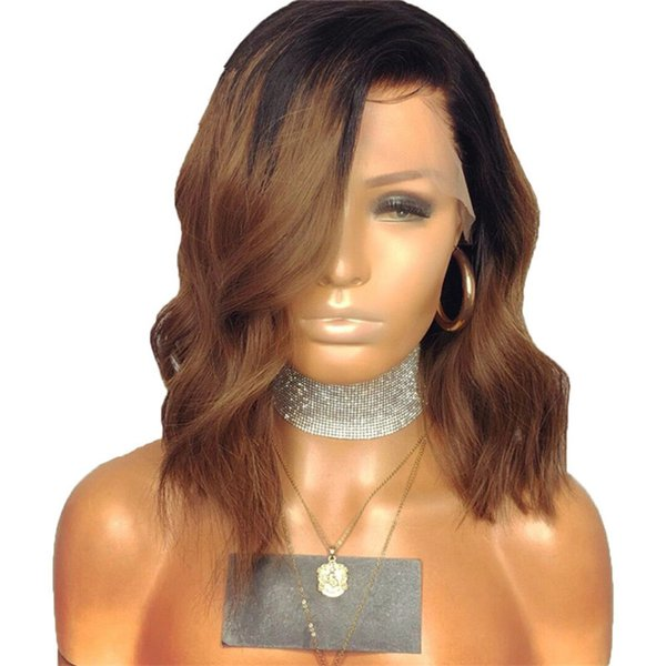 Ombre #1b 30 Full Lace Human Hair Wigs Dark Roots Honey Blonde 150 Density Pre Plucked Short Bob Wig Remy for Black Women