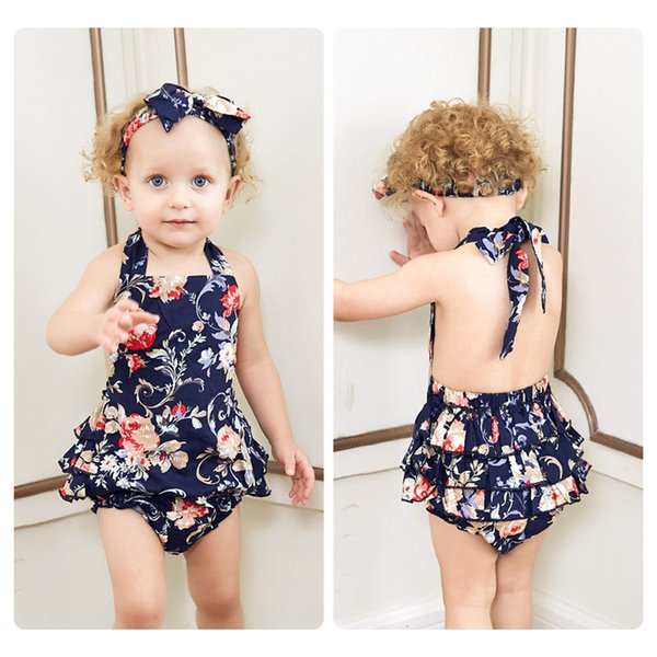 c13cd13a27 Mikrdoo Toddler Baby Girl Lovely Sleeveless Strapped Backless Romper Clothes  Set Cute Floral Romper Headband 2PCS Outfits Sundress