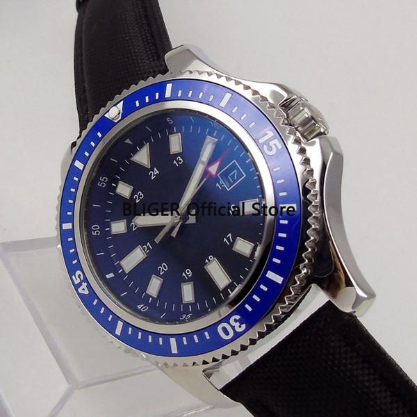 BLIGER Classic 44mm Blue Sterile Dial Blue Ceramic Bezel Date Window Luminous Marks Miyota Automatic Movement Men's Wristwatch