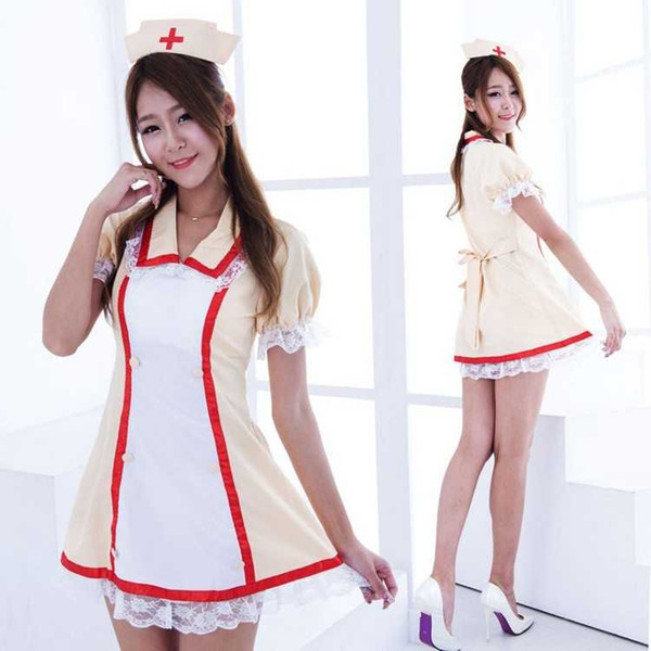 Free Shipping New sexy lingerie cosplay Halloween yellow lace side dress cosplay anime costume performance uniform / nurse suit nurse