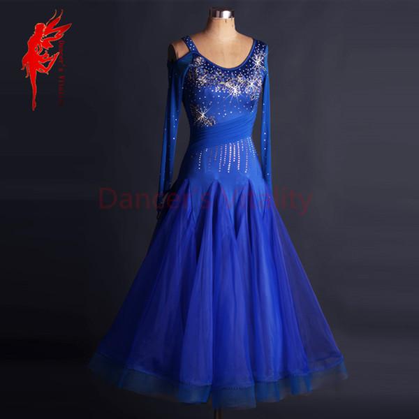 Royal Blue Rhinestone Meninas Senhora Mulheres Competição Desempenho Vestido Dancewear Traje Moderna Salão Nacional Padrão Valsa Jazz Dança