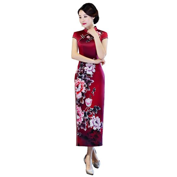 Shanghai Story 2018 New Arrival Women's Short Sleeve Green Floral Qipao Faux Silk Cheongsam Dress Long Chinese Oriental Dress
