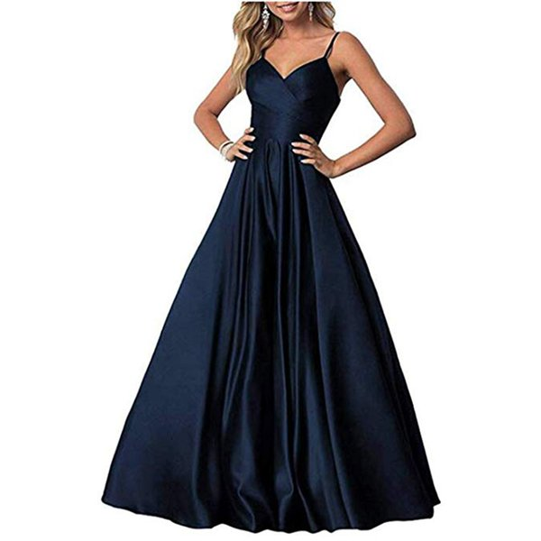 Sexy Spaghetti Strap Long Prom Dresses A Line Rushed Satin Lace Up Formal Evening Dresses Party Gowns for Women