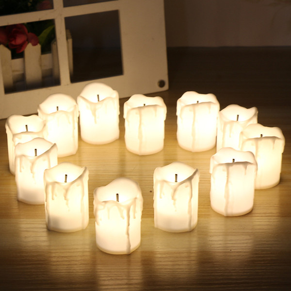 12pcs/set Halloween LED Candles Flameless Timer candle tealights Battery Operated Electric Lights Flickering Tealight for wedding Birthday
