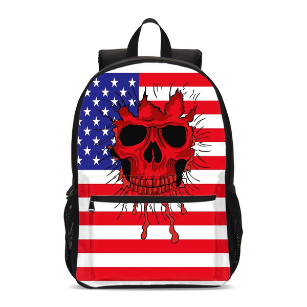 Red White And Blue Flag Print School Backpacks Gothic Skull Travel Bagpack High Quality Stripe Girl Laptop BookBag Women