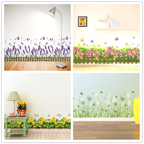 [SHIJUEHEZI] Interior Design Baseboard Stickers PVC Material DIY Flowers Wall Art for Living Room Wall Corner Decoration