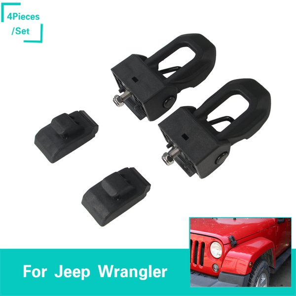 ABS Stainless Steel Hood Lock Catch Latch 4PCS Decoration Cover Fit Jeep Wrangler JL 2018+ Auto Interior Accessories