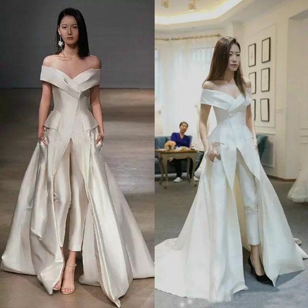 2019 Sexy Jumpsuit White Evening Dresses Satin Off Shoulder Satin Saudi Arabia Party Dress Prom Formal Pageant Celebrity Gowns