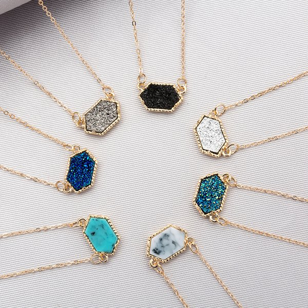 7 Styles Natural Stone Pendant Druzy Drusy Necklace Stainless Steel Chain Hexagonal Prism Lava Diffuser Necklace Jewelry For Women H649R