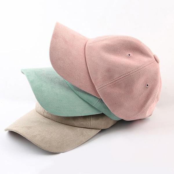 Adjustable Unisex Suede Baseball Cap Curved Brim Hat Solid Color Outdoor Sports Hat