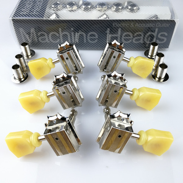 1Set 3R-3L Vintage Deluxe Guitar Machine Heads Tuners 10 Nickel Tuning Pegs