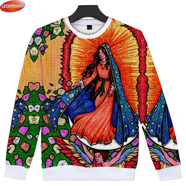 2018 Nuestra Señora de Guadalupe 3D Impreso Sudaderas Mujeres / Hombres Manga Larga O-cuello Moda Sudaderas Ropa Casual Más el Tamaño 4XL