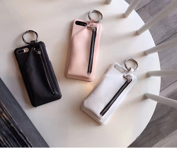 for iPhone x 6 6s plus 7 8 plus Leather Wallet Luxury Zipper Girl Handbag Phone Case Ring Buckle Hard Back Cover 20pcs/lot