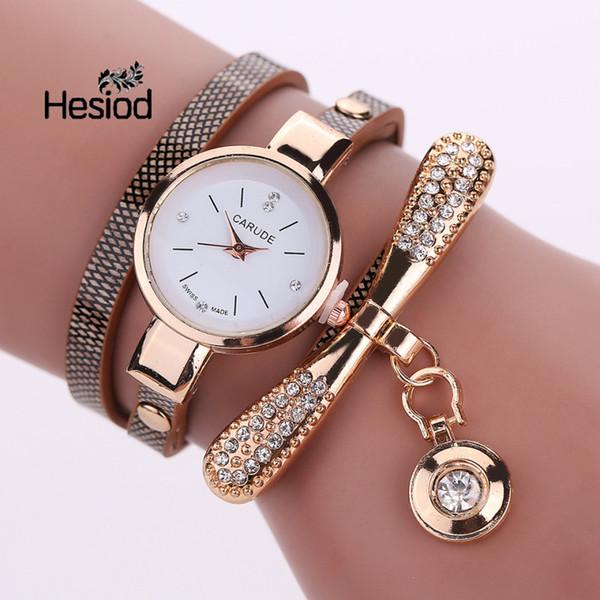 Relojes de las mujeres de primeras marcas de lujo reloj de cuarzo de cuero vestido de mujer reloj de pulsera bola de oro colgante de cristal encanto 7 colores elegantes regalos