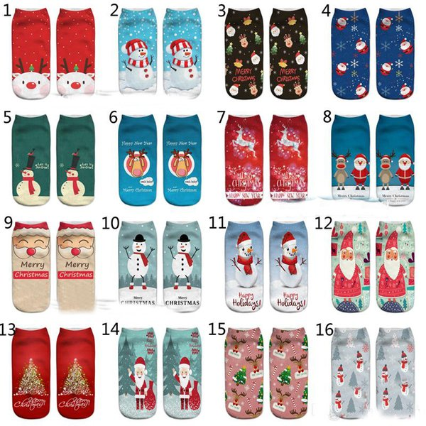 32 Stil 2018 Neue 3D Frauen Männer Weihnachten kurze Socken große Kinder Kreative Neuheit Lustige Weihnachtsmann Elch Schneemann Socken