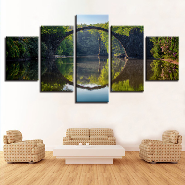 HD Print Pictures 5 Pieces Forest Arch Bridge Canvas Painting Lake Landscape Poster Modular Wall Art Framework Living Room Decor