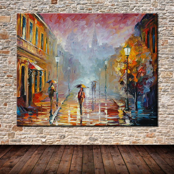 Modern Abstract Hand-Painted & HD Canvas Print Art Oil Painting Street Landscape,Wall Decor on High quality Thick canvas Multi Sizes l02