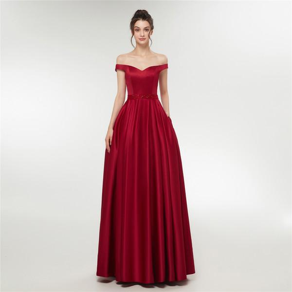 Сексуальное длинное красное выпускное платье с открытыми плечами Вечернее платье для выпускных Размер E003