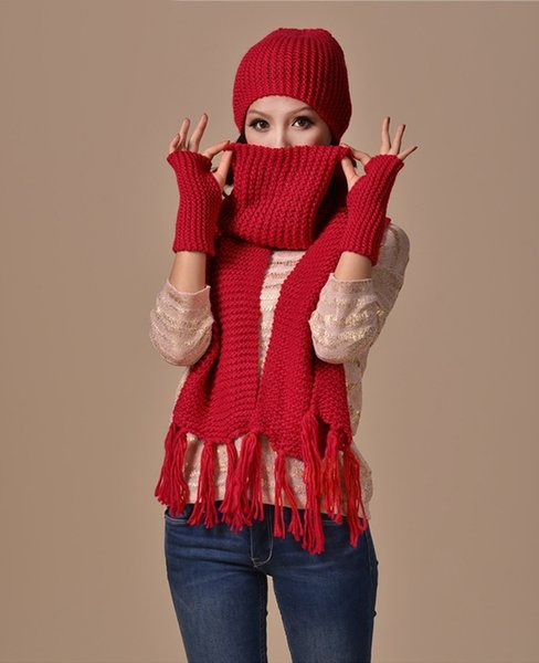 Thick Acrylic Winter Hat Women's Hat Scarf Gloves Set NTocas Feminina Female Knit Scarves Sets Outdoor Warm Beanie SC5513+30