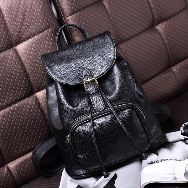 Sırt çantası Öğrencileri Yeni Kadın Lychee Desen Hakiki Deri Omuz Çantaları Seyahat Sırt Çantası Koleji Rüzgar Siyah Çanta Schoolbag