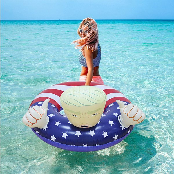 top popular Creative PVC Trump swimming ring Inflatable Floats Thicken Pool Float for adults 2019