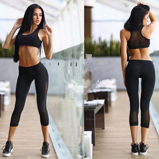 2018 Summer New Women Yoga Capri Black Color Mesh Sport Pants Female Running Tights Gym Fitness Sexy Sportswear (Capri only)