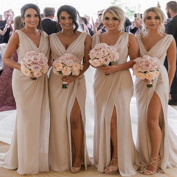 Plus Size Cheap Country Bridesmaids Dresses 2019 Mermaid V Neck High Split Cheap Beach Wedding Guest Gowns Maid of Honors