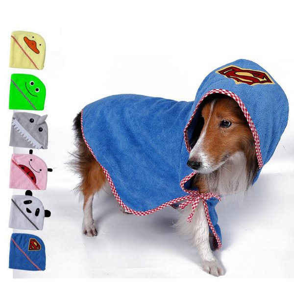 Cartoon Dog Bath Warm Clothing Towel Super Absorbent Dog Bathrobe Superfine Fiber Towel Quick Dry Cat Bath