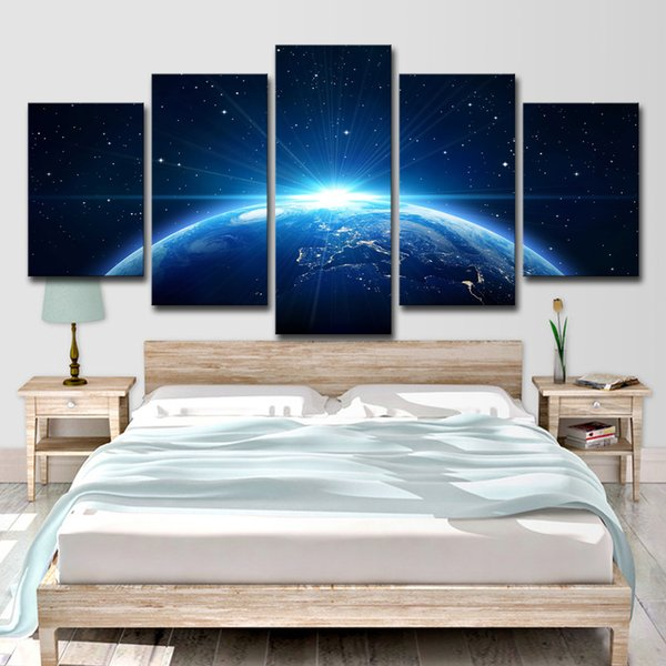 Canvas Prints Paintings Wall Art Home Decor 5 Pieces Universe Earth Planet Poster Living Room Space Blue Light Pictures
