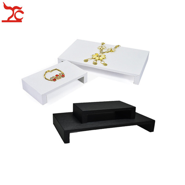 Fine Black White PU Jewelry Display Table Tray Shelf 2 Sizes Window Store Product Display Raiser Exhibition Rack Counter Stand