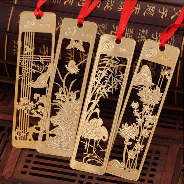Nuevo marcador de boda Regla flor de ciruelo dorado, orquídea, bambú y crisantemo metal párrafo borla Marcadores creativos
