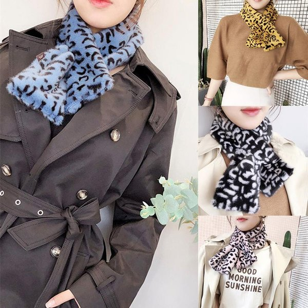 2018 Hot Sale Women Winter Warm Faux Fur Collar Scarves Black/White/Gray Leopard Print Neck Ring Female Scarf Christmas Gifts