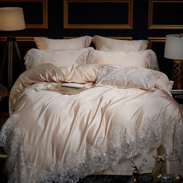 Champagne couleur Européenne Style luxe broderie de dentelle Confortable Ensemble de Literie Housse de Couette Linge de Lit Draps Taies d'oreiller 4 Pcs