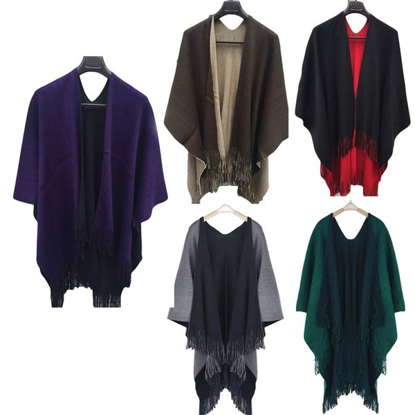 Hot Fashion Novelty Women Winter Knitted Cashmere Poncho Capes Shawl Cardigans Sweater Coat 2018 Vicky