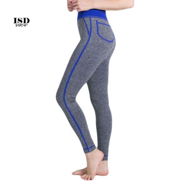 ISHOWTIENDA Women False Pocket Gym Yoga Running Fitness Leggings Pants Athletic Trouser pantalones de deporte para mujer #3