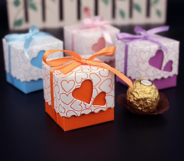 1000pcs Love Heart Purple Pink Small Laser Cut Gift Candy Boxes Wedding Party Favor Candy Bags With Ribbon Casamento Decor