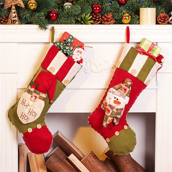 2 unids Santa Claus + Muñeco de nieve Medias de Navidad Rellenos Bolsos de Regalo de Navidad Decoraciones para Árboles de Navidad Adornos Santa Sack Cordón